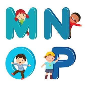 Mnop 문자가있는 만화 아이