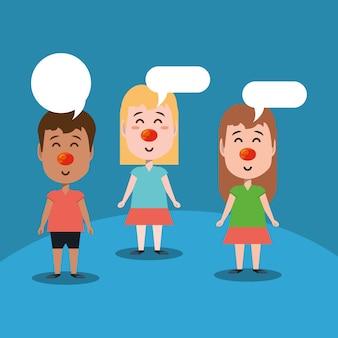 Мультфильмы с красными носами и речевым пузырем