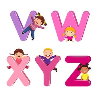 Vwxyz 문자로 만화 아이