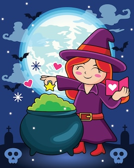 Cartoon kind wizard making potion with love book