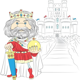 Cartoon king charles the first in crown illustration