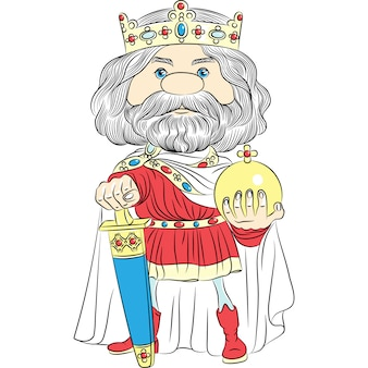 Cartoon king charles the first in the crown, with the sword and globus cruciger