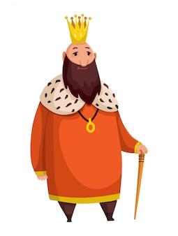 Мультяшный король в короне и мантии. толстый король с палкой стоит.