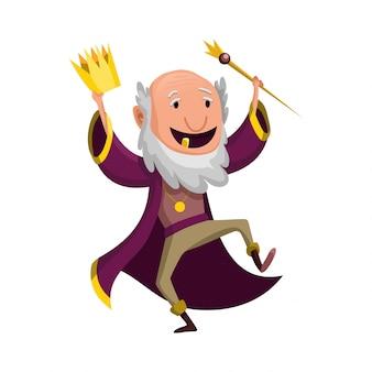 Мультяшный король в короне и мантии. старый король в хорошем настроении танцует.