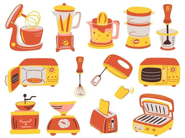 漫画のキッチン家電セット。ジューサー、グリル、ブレンダー、電子スケール、コーヒーグラインダー、トースター、ブレンダー、電子レンジ、スタンドミキサー。家庭用厨房機器ベクトルのセット。