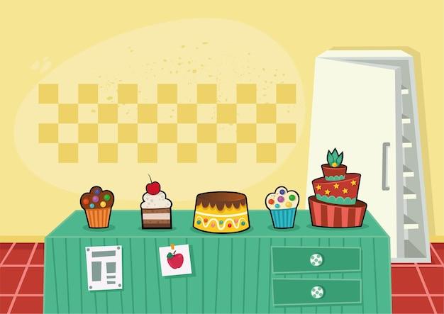 ベーカリー製品とケーキのベクトル図と漫画のキッチンの背景