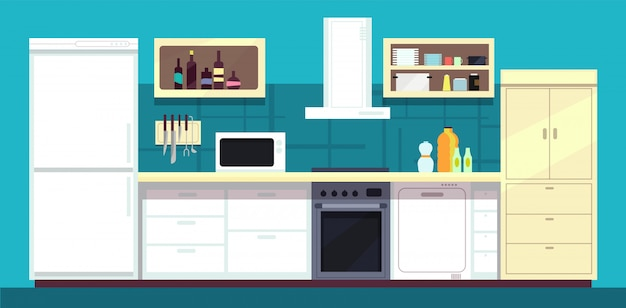 Cartoon kitchen interior with fridge, oven and other home cooking appliances