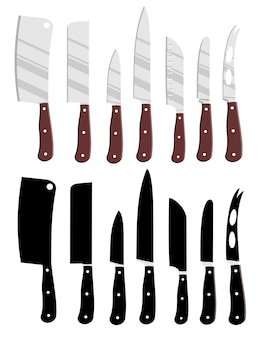Cartoon kitchen knives and kitchen knives black silhouettes.