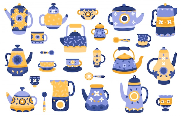Cartoon kitchen teapot. ceramic tea teapots and kettles, serving tableware, tea ceremony decorative elements  illustration icons set. kitchenware and ceramic kettle household