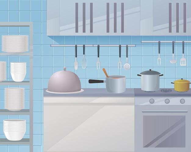 Cartoon kitchen workspace of a restaurant kitchen
