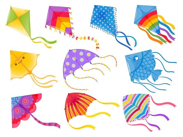 만화 연입니다. 아이들을 위한 리본과 꼬리가 있는 바람 비행 장난감. 마카르 산크란티. 나비, 물고기, 무지개 연 모양과 디자인, 벡터 세트. 그림 바람 연 게임, 여름 비행 장난감