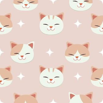Cartoon kitten seamless pattern