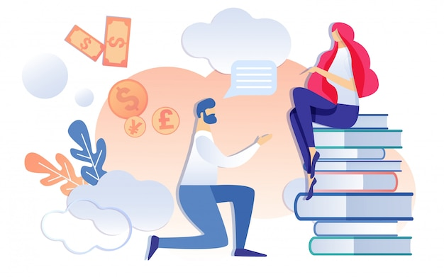 Cartoon kneel man ask woman sitting on book stack