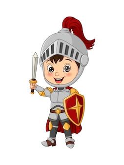 剣と盾を持った漫画の騎士の少年