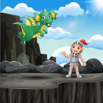 Cartoon knight and a dragon at the mountain cliff