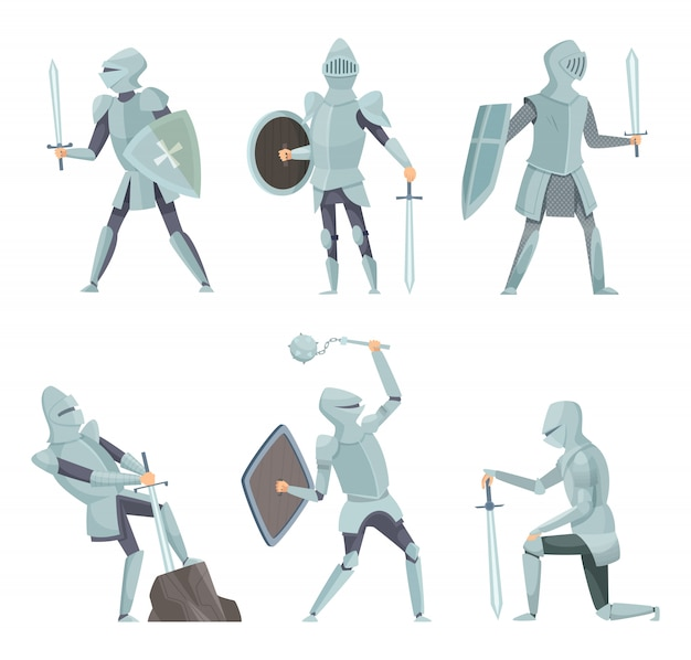 Cartoon knights. medieval warrior on horse vector cartoon characters in action poses