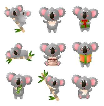 Мультяшный коала установлен в разные позы на белом фоне