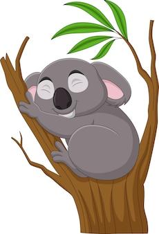 Мультяшная коала спит на ветке дерева