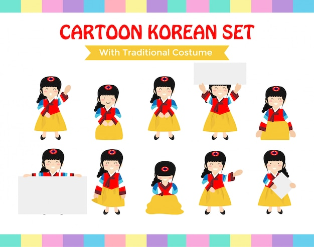 Cartoon korean set with traditional costume