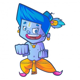 Cartoon krishna ready to fight.