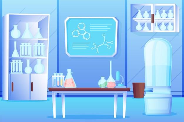 Illustrazione della stanza del laboratorio del fumetto