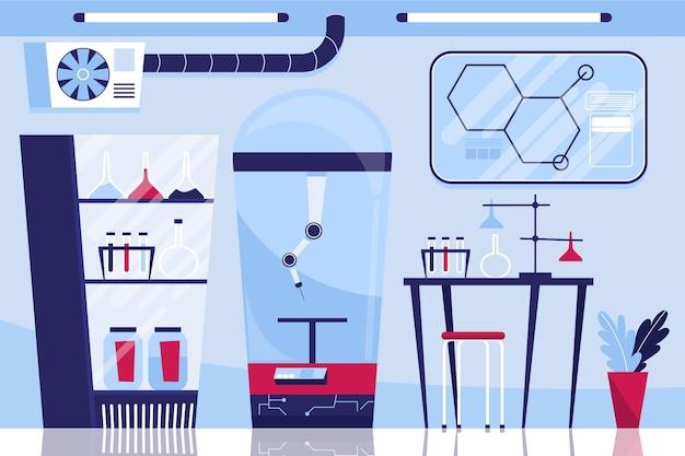 Cartoon laboratory room with equipment