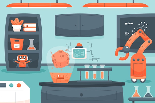 Cartoon laboratory room with machines
