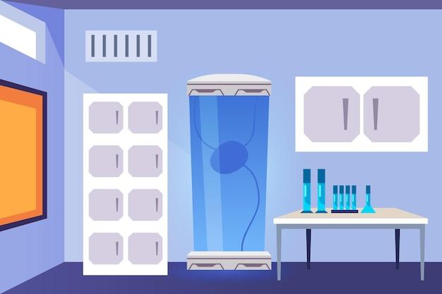 Cartoon laboratory room