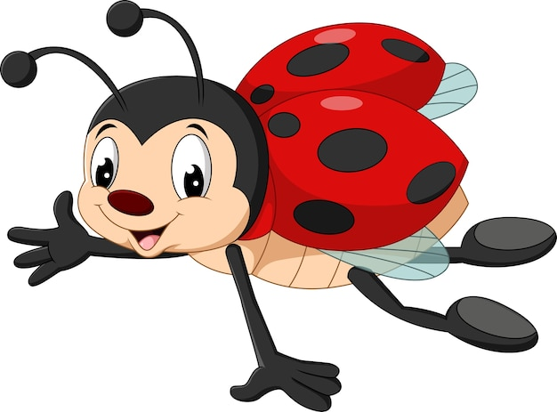 Cartoon ladybug flying