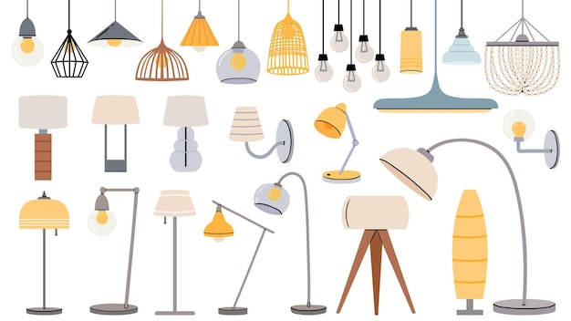 Cartoon lamps. cozy flat torcheres, hanging chandeliers and lamp for table, floor. home illumination design for modern interior vector set. indoor electrical equipment of different style