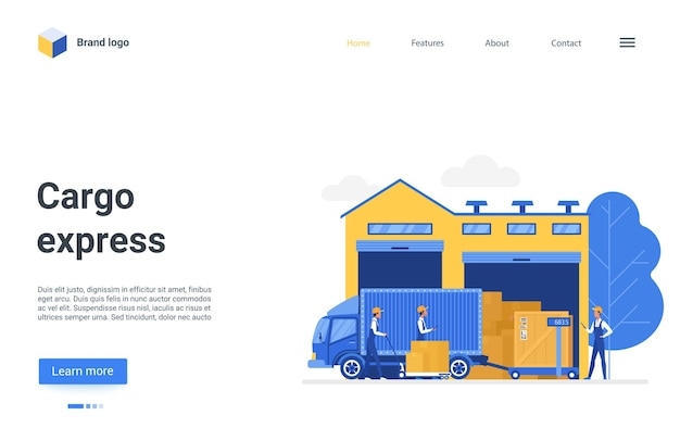 Cartoon landing page design, website for warehousing business company illustration