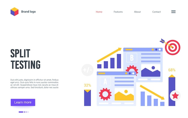 コンバージョン率ビジネス最適化のオンラインサービスのための漫画のランディングページのウェブサイトのデザイン