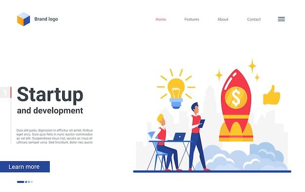 Дизайн веб-сайта целевой страницы мультфильма с плоскими персонажами бизнесмена