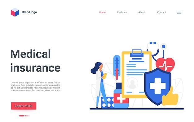 Мультяшный дизайн веб-сайта целевой страницы с персонажем страховщика или врача, стоящим рядом с формой контрактного документа.