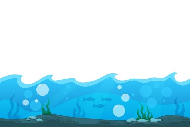 푸른 바다 또는 바다 바닥 일러스트와 함께 게임 사용자 인터페이스에 대한 만화 풍경