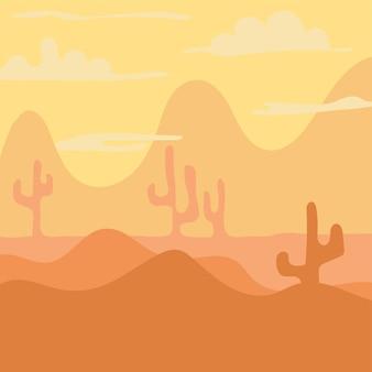 Cartoon landscape for game design, soft nature background -desert