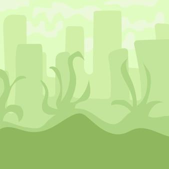 Cartoon landscape for game design, soft nature background - green city