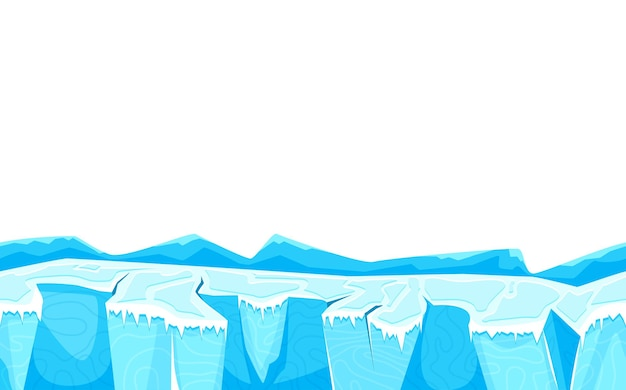ゲームのユーザーインターフェイスの図の氷の表面と漫画の風景の地面