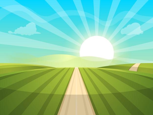 漫画の風景のイラスト。太陽。道路、雲、丘。