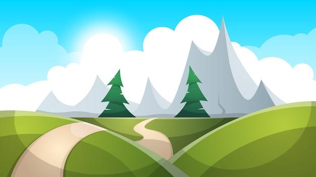 漫画の風景のイラスト。太陽。道路、雲の丘