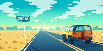 Cartoon landscape of barren desert with long highway. Car rides along asphalt road to canyon