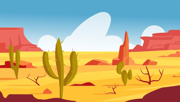 Мультяшный пейзаж пустыни невада с кактусами и кустарниками