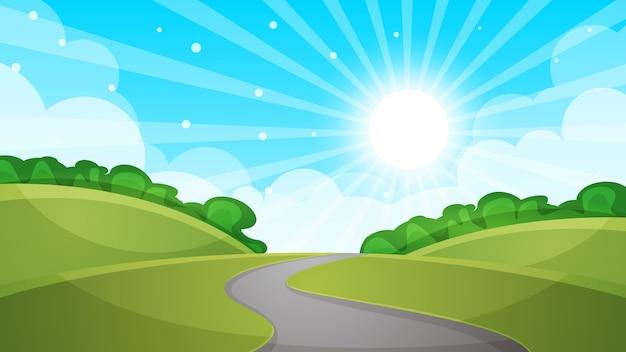 漫画の風景の道路のイラスト