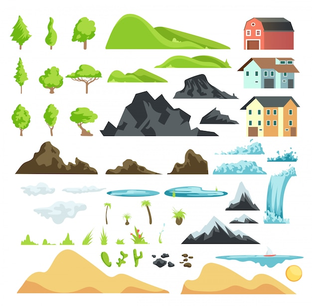 Cartoon landscape vector elements with mountains, hills, tropical trees and buildings