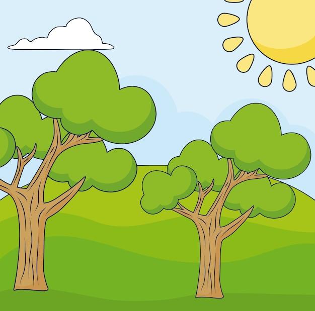 Cartoon landscape with tress