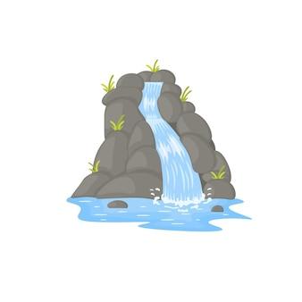 Мультяшные пейзажи с горами и деревьями, живописная достопримечательность с небольшим водопадом