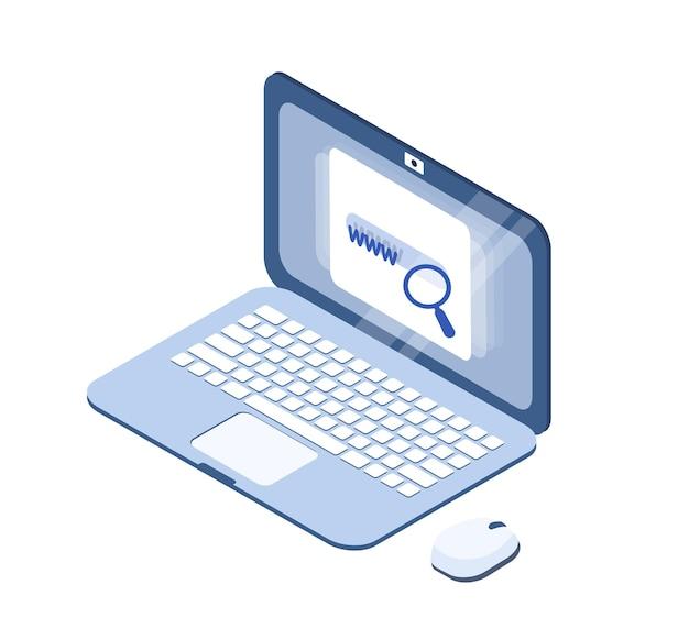 만화 노트북 현대 아이소메트릭 디자인 벡터 일러스트 레이 션. 흰색 배경에 격리된 작업, 엔터테인먼트 및 통신을 위한 입이 있는 스마트 전자 장치. 컬러 컴퓨터 pc입니다.
