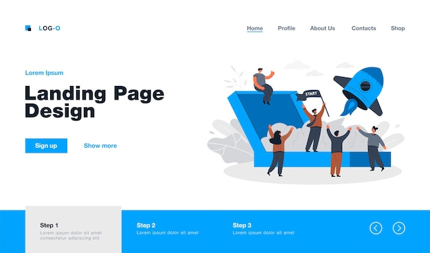 Cartoon launching new business project landing page in flat style