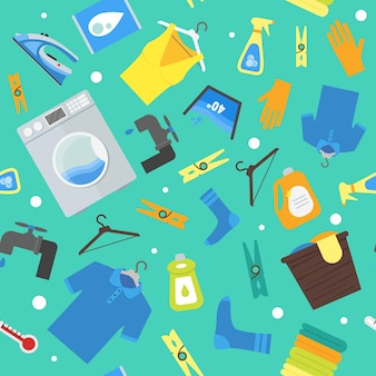 Мультфильм прачечная фоновый узор. стирка и глажка одежды по дому плоский дизайн стиль векторные иллюстрации