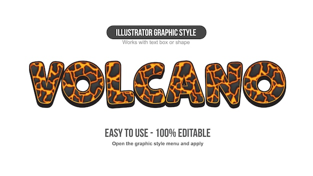 Cartoon lava volcano effect editable text effect